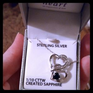 Sapphire silver heart necklace